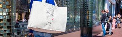 linnen tassen bedrukken - voorbeeld damesmode tassen