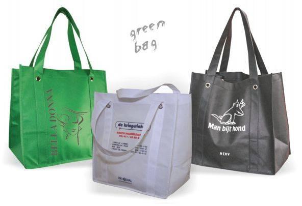 Green shopping bag groen, grijs en zwart met lang hengsel