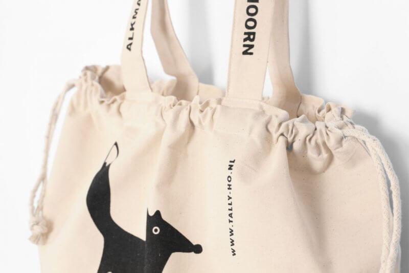 Linnen tasjes bestellen onbedrukt of bedrukt, bijvoorbeeld van Tally Ho met vos